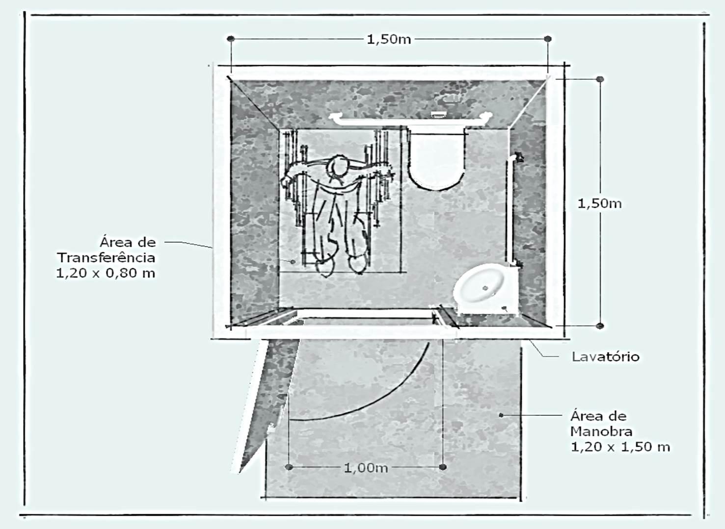 bacia sanitária com barras de apoio lateral e de fundo fonte a autora #557676 1477x1079 Banheiro Acessivel Para Idosos
